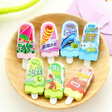 Cute Ice Cream Popsicle Eraser Rubber Pencil Stationery Child Toy 2pcs Nice UK
