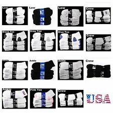12 Pairs Lot Men Women Socks 9-11 10-13 Cotton Crew Ankle Low Cut White Black