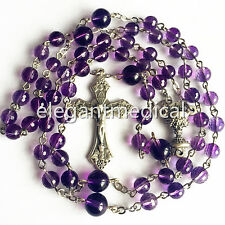 AMETHYST BEADS First Communion Gift ROSARY & ITALY CROSS CATHOLIC NECKLACE & BOX