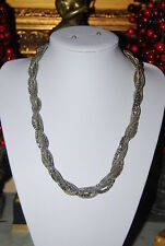 BEAUTIFUL RUNWAY COUTURE MULTIPLE SILVER TONED METAL TORSADE STATEMENT NECKLACE