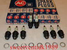 'NOS' AC-44 Spark Plugs '4 equal Green Rings'....... 'FIRE RING'