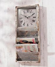 Wanduhr mit Zeitungsfächern Zeitungshalter Regal Holz Vintage Shabby chic retro