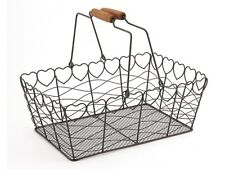 Heart Wire Metal Basket Vintage Grey Kitchen Garden Shabby Wedding Decoration