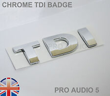 Tutti Chrome badge TDI-TURBO DIESEL-Auto Furgone-UK VW Golf Bora Passat T4 MK4 MK5