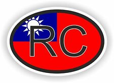 RC Taiwan COUNTRY CODE OVAL WITH FLAG STICKER bumper decal car bike tablet