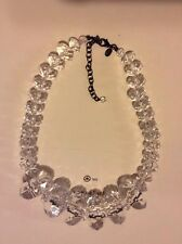 "Signed Joan River Clear Graduated Faceted Resin Bead 19"" Necklace"