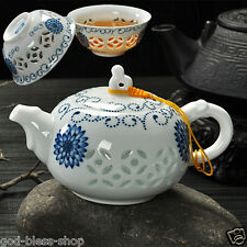 porcelain tea pot tea cup blue-and-white china floral tea set pot with infuser