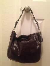 Coach Brown Patent Leather Large Hobo Bag Shoulder Purse