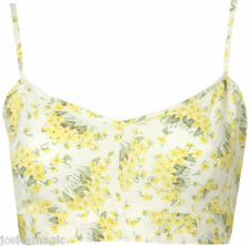Topshop Yellow Cream Buttercup Crop Top 16 44 Bralet Shirred Back Floral New