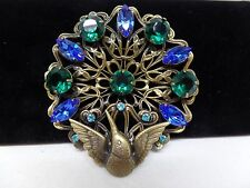 ON SALE! JOSEFF of HOLLYWOOD Signed Vintage Blue & Green Crystal Peacock Brooch!