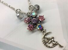 Fairy Crystal Necklace Charm Magical Luck Pink Rhinestone Silver New