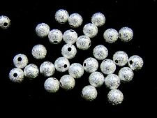 30 Pcs -  6mm Silver Plated Stardust  Spacer Beads Craft Beading Jewellery M194
