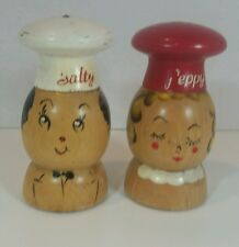 Vintage Wood Salt and Pepper Salty and Peppy Character Shakers 1940s