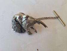 A26 Spaniel & Pheasant Tie Pin With Chain english pewter handmade in sheffield