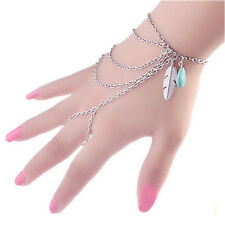Fashion Boho JT22 Turquoise Bracelet Silver Multilayer Harness Hand Chain Bangle