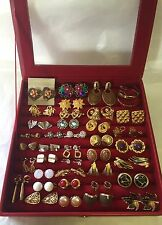 "Vintage JEWELRY DISPLAY BOX FULL-ASSORTED LOT 39 PAIR ""Clip-On"" EARRINGS-Estate"