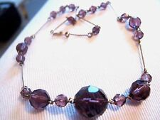 Antiguo Art Deco De Vidrio Cristal Facetado Color Ciruela Collar de 16 Pulgadas/41CMS de largo