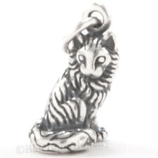 3D KITTY CAT KITTEN Long Hair ruff Charm Pendant solid 925 STERLING SILVER small