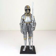 "Medieval Knight Armor w/ Langdebeve Silver Figurine Miniature Statue 11""H New"