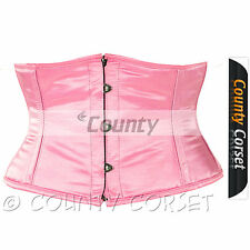 Shaper Cincher Mini Waspie Full Steel Boned Waistbust Sexy Pink Satin Corset