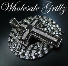 NEW! Simulate BLACK Diamond 14k White Gold Gp Chain +CUSTOM Matching Cross Combo