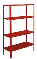 Kit scaffale aste spezzate 4 ripiani casellario in metallo  rosso  75X30X150
