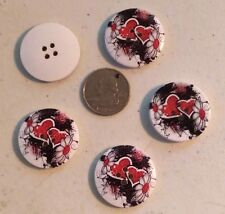 """Lot of 5 RED HEARTS 4-hole 1.25"""" (30mm) Wooden Buttons Scrapbook Doll (0024)"""