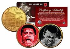 MUHAMMAD ALI * Liston Fight & The Greatest * Quarters 2-Coin Set 24K Gold Plated
