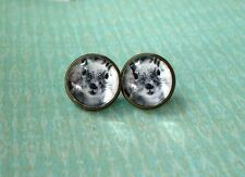 Black and white Squirrel Face Animal Cabochon Stud Earring,Earring Post