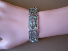 925 Sterling Silber filigran Armband mit 4 blauen Steinen 12,4 g / 19-20 cm