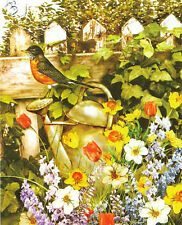 Giordano WATERING CAN IN THE GARDEN Bird Wildflowers BOXLESS Jigsaw Puzzle 100%