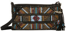 NWT Mary Frances Fierce Beaded Faux Leather Clutch Shoulder Bag