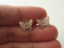 ROSE GOLD PLATED 925K STERLING SILVER HANDMADE WHITE TOPAZ BUTTERFLY EARRINGS