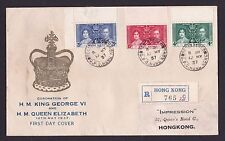 Hong Kong China 1937 KGVI Coronation Local GPO Registered First Day Cover FDC