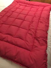 """VINTAGE PRELOVED EARLY 20TH C FEATHER EIDERDOWN DUVET RED/PINK 42""""X 62"""" RUFFLED"""