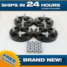 Wheel Spacers Adapters 4x100 25mm thick for 4 lug cb 60.1 4pc 12x1.5 studs black