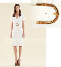 $1,900 GUCCI DRESS WHITE STRETCH CADY BAMBOO BUCKLE BELTED sz IT 38 / US 2
