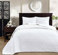 WHITE MATELASSE 3pc King BEDSPREAD SET : COTTON FILL QUILT COVERLET BEDDING