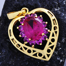 Fashion Womens Red Ruby 14k Yellow gold Plated Huge Heart Pendant For Necklace