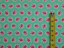 Lil Dotsy Pink Roses Flowers Floral Mint BY YARDS Michael Miller Cotton Fabric