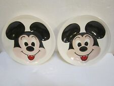 Vintage 1976 Hand Painted Mickey Mouse Ceramic Plates Set of 2 EUC Must see!!