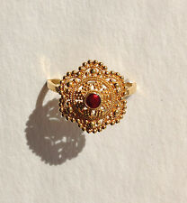 22k Solid Yellow Gold 917 Red Enamel Beaded Ring Size 7 Sizeable India Mandala