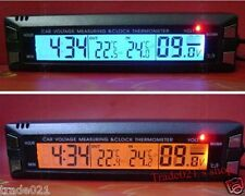12V Car Auto Digital led In/Out C/F Clock time Thermometer Volt Voltage Meter