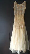 Fitted Size 8 Gold and Silver Net Womens Bridal Wedding Reception Prom Dress