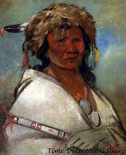'Great Hero' an Ojibwa Chief by George Catlin - 1845 - Historic Art Print