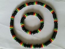 Jamaican Necklace Rasta Tribal Surfer Natural Wood Dreads Hippie Bracelet
