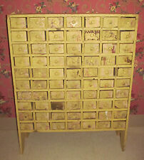 Antique Primitive Farm Hand Made Shabby Chic Apothecary Cabinet Chest of Drawers