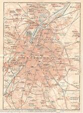 Antique map Brussels / carte Bruxelles / karte Brüssel 1914 Brussel