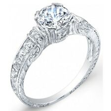 Edwardian style platinum and diamond engraved engagement ring,setting for 6.5 mm