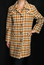 S~M MOD MINK CASHMERE WOOL VTG 60s Spigel TAN PLAID OutWear Dress JACKET COAT